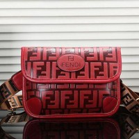 Fendi Women New Fashionable Leather Chest Bag Shoulder Handbag Bag Crossbody Satchel Red