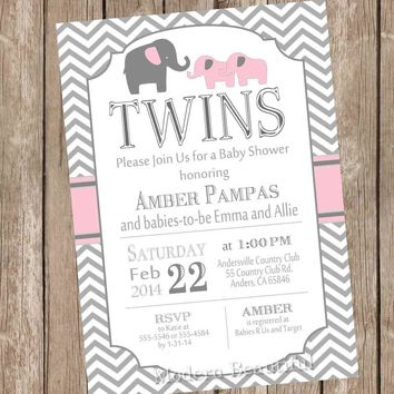 Elephant Twin Girl Baby Shower Invitation, twin girl, girl twins, pink, gray, chevron, typography, printable invitation pe1