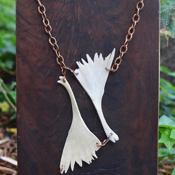 White Wings Necklace Real Turtle Bones Natural Wing Shape Large Statement Pendant on Large Link Hammered Copper Chain Organic Jewelry