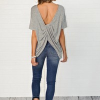 * Armani Twist Back Top : Heathered Grey