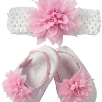 Little Me Baby-Girls Newborn Matching Dot Flower Patent Thong Sandals