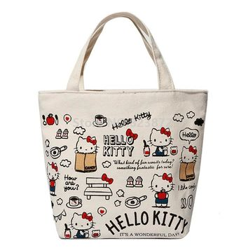Cute Cartoon Hello Kitty Women Canvas Bag Small Handbag Girls Lunch Tote Bag for Kids School Picnic Food Lunchbox Bags Zipper
