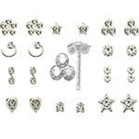 20 Pack 925 Sterling Silver Nose Studs Rings Clear stone Mixed Sizes 22G