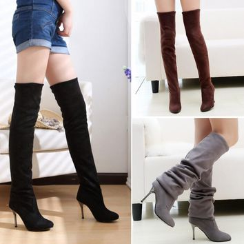 2017 Autumn Winter Women Faux Suede Thigh High Boots Over the Knee Boots Stretch Sexy High Heels Woman Shoes Black Gray Wine Red