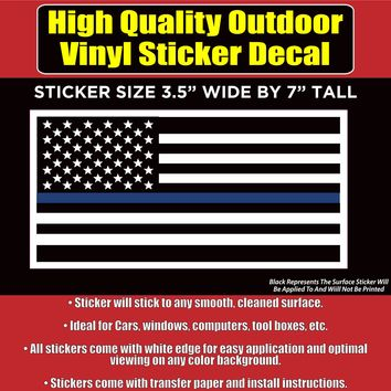 Thin Blue Line - Blue Lives Matter Flag Vinyl Car Window Bumper Sticker