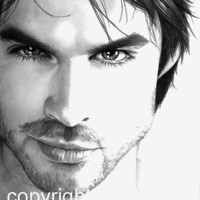 Ian Somerhalder, Damon Salvatore, The Vampire Diaries, Pencil Drawing, Portrait, 8x10 Art Print, by Wendy Hogue Berry