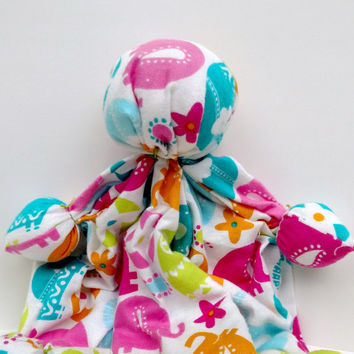 "Baby's Soothing Toy - Snuggle Doll - Unique Baby Shower Gift - Soft Doll - Baby Elephant Print - 100% Cotton Flannel Fabric - 11""-12"" Tall"