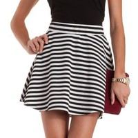 Black/White Textured Stripe Skater Skirt by Charlotte Russe