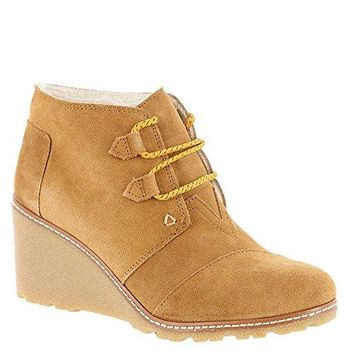 TOMS New Desert Wedge Wheat Suede Shearling Crepe 9.5 Womens Shoes