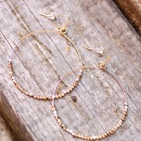 Large Square Bead Hammered Hoop - Gold - Earrings - Jewelry