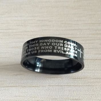 ION Plated Black and Tungsten Carbide Lord's Prayer Ring