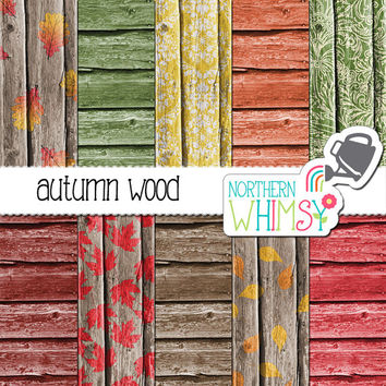 Autumn Wood Digital Paper Pack – barn board papers in autumn colors for digital scrapbooking – fall wood scrapbook paper - commercial use