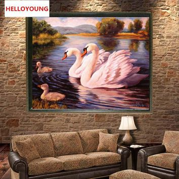 YGS-209 DIY 5D Full Diamond Embroidery Swans swimming Round Diamond Painting Cross Stitch Kits Diamond Mosaic Home Decoration