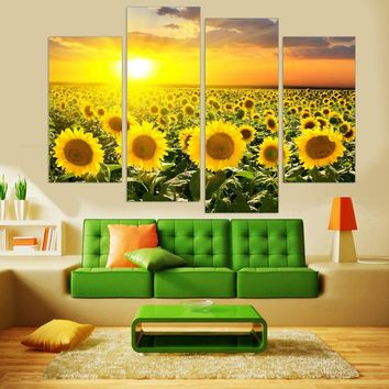 Unframed  Modern Sunflower HD Printed Canvas Painting Flower Wall Art Modular Painting for Living Room Canvas Art Prints 4 Panel