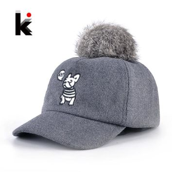 Trendy Winter Jacket Children Baseball Caps Boys Cute Dog Embroidery Snapback Hats For Girls Real Rabbit Fur Pompoms Hat Autumn 100% Cotton Gorros AT_92_12