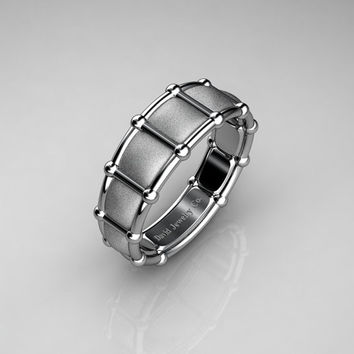 Modern Italian 950 Platinum Infinity Cushion Designer Wedding Band B1021B-PLATS