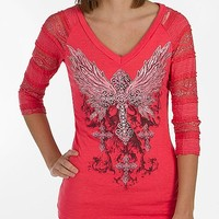 Diamonds Winged Cross T-Shirt