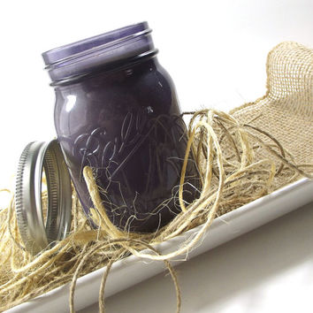 Royal B scented Soy Candle - Purple, Vintage Style Mason Jar -- 16 ounce Jar