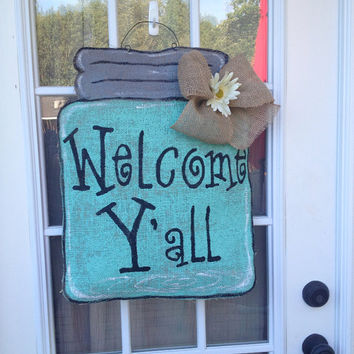 Large Burlap Blue Mason Jar Door Hanger - Outdoor Decor