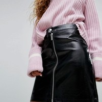 H! By Henry Holland Zip Front Mini Skirt In Patent Faux Leather at asos.com