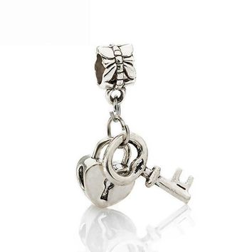 DCCKL72 Free Shipping 1Pc Silver Bead Charm European Silver with Love Lock key Charm Pendant Bead Fit Pandora Bracelet
