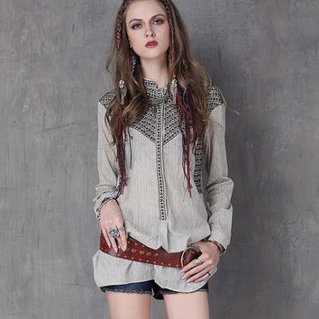 2017 New Tribal Print Blouses Embroidery Cotton Linen Shirts Women Summer Ladies Women Tops Tees Boho Pullovers Blusas Femininas