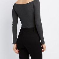 Waffle Knit Off-The-Shoulder Bodysuit