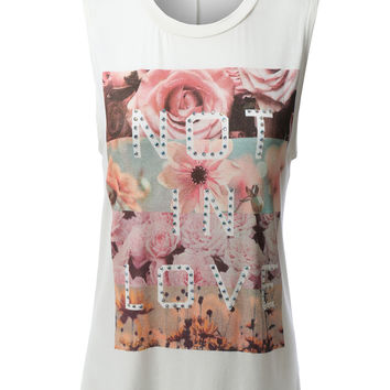 LE3NO Womens Sleeveless Fun Letter Print Floral Top