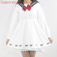 2016 Spring Kawaii Cat Clothes Anime Harajuku Long Sleeve Patchwork Lace Sailor Dress Japanese School Uniform Dress Neko Atsume