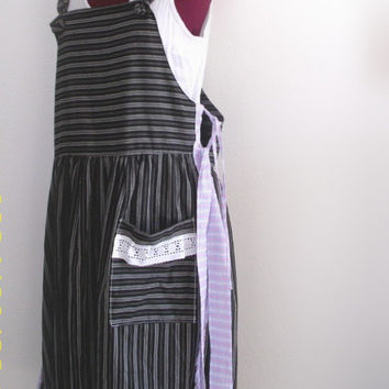 Rustic French Country Pinafore Dress Lagenlook  Bohemian Black Grey Stripped Overalls Dress.