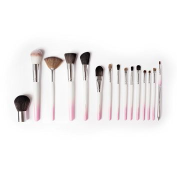 Vanity Planet Palette 15 Piece Professional Makeup Brush Set (White/Pink)