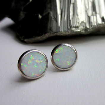 Sterling silver white fire opal studs fire opal stud pierced earrings silver opal earrings opal jewelry