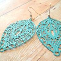 T E A L Teal Blue Lace Handpainted Metal by handmadebyfirefli