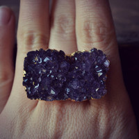LUX Divine Amethyst Stackable Gemstone Gold Ring Size 9