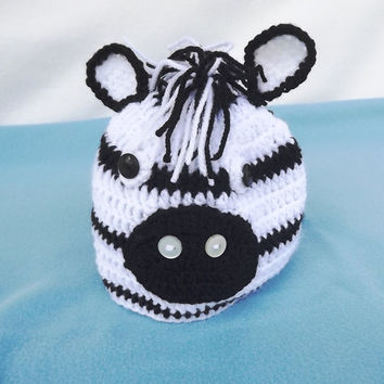 Cute crochet zebra hat,