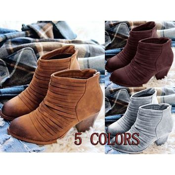 Womens Short Ankle Boots Vintage Flat Heel Booties Strappy Shoes