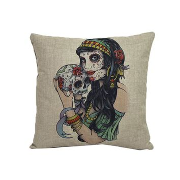 Home Sofa Cars Decoration Vintage Skull Pillowcover Skull Cushion New