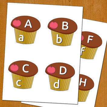 Alphabet cupcakes, matching game, children toy, instant download, educational