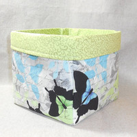 Beautiful Gray, Black, Aqua and Green Butterfly Themed Fabric Basket