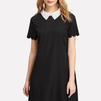 Contrast Collar Pearl Detail Scallop Trim Dress