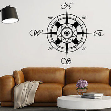Compass Wall Decal Compass Rose Nautical Vinyl Sticker Navigation Decor C158