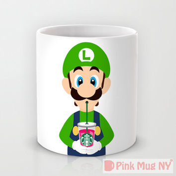 Personalized mug cup designed PinkMugNY - I love Starbucks - Super Mario  #2 -  Luigi