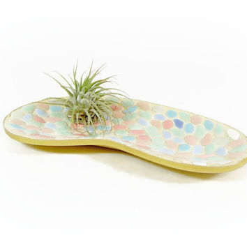 Mid Century Mosaic Tray Ashtray Kidney Shaped Dish Atomic Boomerang Decorative Tray Air Plant Holder Atomic Retro Tile Mosaic Modern Decor