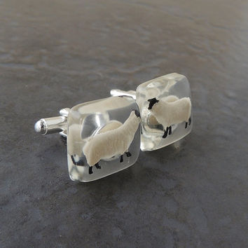 Sheep Cufflinks, Little Sheep Figures in Resin Cabochons, Sheep Jewelry, Resin Jewelry, Farm Animal Gift (750)