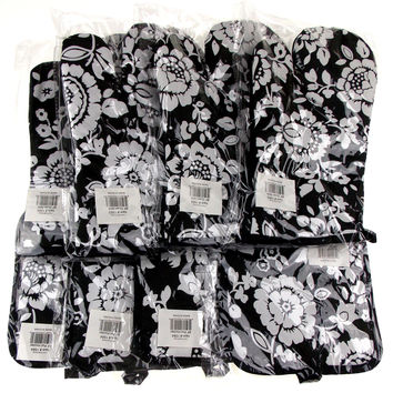 Black White Flowers Pot Holders Oven Gloves Lot 8 Kitchen Decor Hot Pad 7x7.5