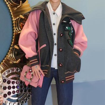 """Miu Miu"" Women Fashion Embroidery Diamond Multicolor Long Sleeve Cardigan Big Lapel Jacket Baseball Clothes Wool Coat"