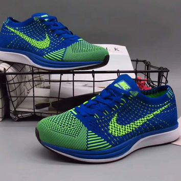 Nike Flyknit Racer Rainbow Casual Running Sport Shoes Sneakers Green-Blue G-A36H-MY