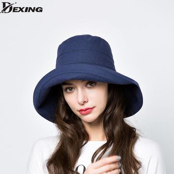 anti-UV wide Brim cotton linen solid summer hat for women  vacation  beach hat foldable bucket hat large brim sun visor hat