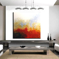"""Original Modern Abstract Large Art Painting.Impasto.Palette Knife 30"""" x 30"""" White,Blue,Yellow,Red,Black.Modern Wall Decor - by Nata S"""