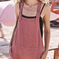 Pink Shoulder-Strap Buttons Pockets High Waisted Cute Overall Short Jumpsuit